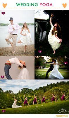Wedding yoga with the bride, groom and bridesmaids.