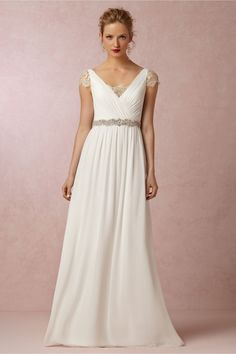 The gorgeous delicate lace on this Bhldn gown is stunning and under $500