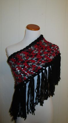 Unique Crocheted Multi Colored Fringed Cowl by CoralsChicBoutique