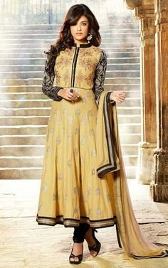 CREAM & BLACK COTTON ANARKALI SALWAR KAMEEZ - DIF 29567