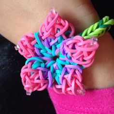 hibiscus flower rainbow loom | Custom color Hibiscus flower rainbow loom bracelet w/Free bonus item