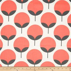 Screen printed on cotton duck; this versatile medium weight fabric is perfect for window accents (draperies, valances, curtains and swags), accent pillows, duvet covers and upholstery. Create handbags, tote bags, aprons and more. *Use cold water and mild detergent (Woolite). Drying is NOT recommended - Air Dry Only - Do not Dry Clean. Colors include salmon and shades of grey on pale grey.