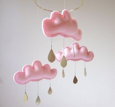 "Light Pink cloud mobile for nursery ""CHERRY BLOSSOM"" with gold star by The Butter Flying-Rain Cloud Mobile Nursery Children Decor. $59.00, via Etsy."