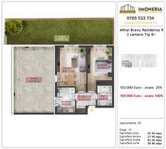Apartamente de vanzare Mihai Bravu Residence 9 -2 camere tip B + Floor Plans, Floor Plan Drawing, House Floor Plans