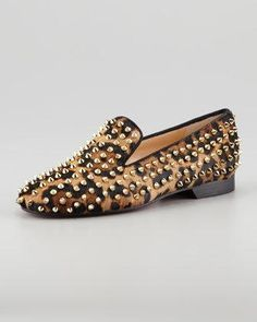 CHRISTIAN LOUBOUTIN Rolling Spikes Red Sole Smoking Slipper