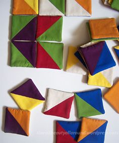 Tangram-esque Fabric Puzzle - put a bunch of these in a bowl on the coffee table.