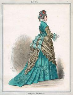 L'Elegance Parisienne July 1874 LAPL Victorian Era Fashion, 1870s Fashion, Vintage Fashion, Vintage Dresses, Vintage Outfits, Bustle Dress, Fashion Illustration Vintage, 19th Century Fashion, Mode Vintage