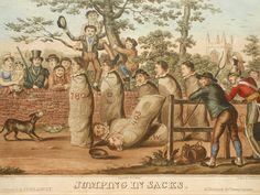 Antique Georgian British caricature by Robert Cruikshank: 'Jumping in Sacks'. Sold at: www.SpencerBros.co.uk. Georgian satire / humour / bizarre / grotesque / antique print / hand-coloured etching / gentleman's library / art / interior design.
