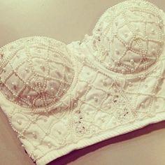 pearl bralette bra crop corset bridal lingerie crop tops t-shirt studs bralette bandeau white beading shirt embellished top cream top blouse