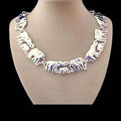 Elefanten, Collier, Halskette, Silber plattiert in Uhren & Schmuck, Modeschmuck, Halsketten & Anhänger | eBay