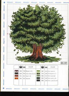 Cross Stitch Tree, Mini Cross Stitch, Beaded Cross Stitch, Cross Stitch Borders, Cross Stitch Flowers, Cross Stitch Kits, Cross Stitch Charts, Cross Stitch Designs, Cross Stitching