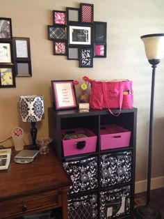 Thirty-One fabric swatches in the frames, then the Your Way Cubes (Thirty-One) in the Shelf (Target), plus the Organizing Utility Tote (Thirty-One) on top! LOVE! <3