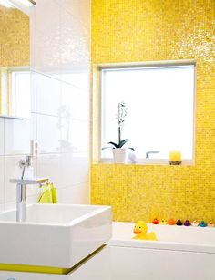 Yellow Tile Rubber Duckies Modern Sink Fun Bathroom For A Kid 25 Modern Bathroom Ideas Adding Sunny Yellow Accents To Yellow Wall Decor, Yellow Bathroom Decor, Kid Bathroom Decor, Yellow Bathrooms, Bathroom Colors, Bathroom Interior, Bathroom Accents, Funny Bathroom, Basement Bathroom