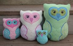 In The Hoop :: Softie Toys :: Owl Softies - Embroidery Garden In the Hoop Machine Embroidery Designs