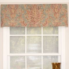 These valances feature a centered Persian paisley motif in gold on deep red background or a plum on a muted blue background. The valance itself is a straight valance and comes fully lined and features a rod pocket for use with either a standard or continental rod.