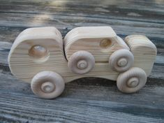 Handcrafted Wood Toy Truck with 1 Car Natural Wood finish Car