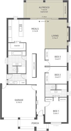 Design Twelve Floorplan Option B - from the Weeks and Macklin Homes Choice Series. A clever design with elegant features. This elegant three bedroom home is deceptively simple yet delivers stunning living areas, resort style bathrooms and clever storage solutions for practical utility. It is the perfect balance of form and function. #weeksmacklinhomes #floorplan #house