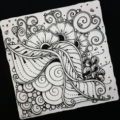 Zentangle - Artwork from Rebecca Kuan - Welcome to visit my FB Page:… Doodle Art Drawing, Zentangle Drawings, Mandala Drawing, Zentangle Patterns, Art Drawings, Zentangles, Mandala Doodle, Tangle Doodle, Zen Doodle