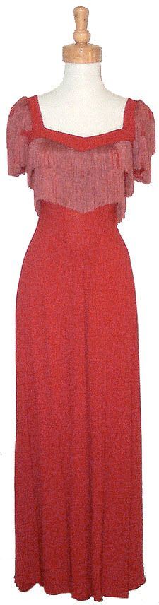 1940's Crepe gown with fhttp://www.vintageous.com/dressy5.htmringe.