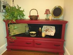 Chalk paint old dresser redo....This for the TV in the living room.  I like this color, too!