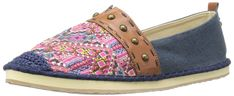 The SAK Women's Echo Tribal Ballet Flat, Pink Embroidery, 8 M US. EVA bottom. Embroidered Fabric Detail. Stud Detail. Crochet Detail. Cork Insole for Added Comfort.