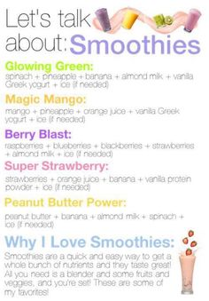 Power Smoothies!  As good as all of these sound, be careful which ingredients work for your gastroparesis and not against it.