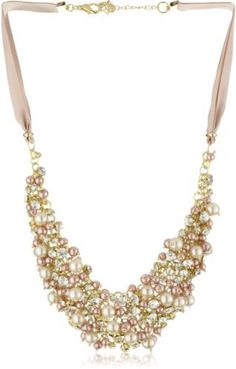Nina 'Melanie' Blush Colored Glass Pearl and Crystal Necklace on shopstyle.com