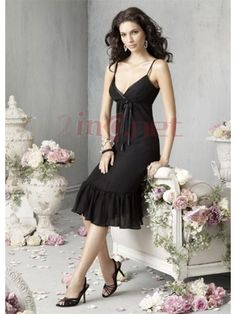 $88.69Classic Black Chiffon Spaghetti Straps #Bow #Cocktail #Dress