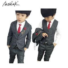 28.82$  Buy here - http://aiqmb.worlditems.win/all/product.php?id=32570286815 - ActhInK New 3PCS Boys Wedding Costume with Belt England Style Boys Formal Vest Blazer Suit Children Spring Clothing Set, C156