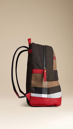 Burberry Bright Military Red Canvas Check and Leather Backpack - Cotton jute backpack with Canvas check panels and leather trim. Adjustable padded shoulder straps and leather hanger loop. Discover the childrenswear collection at Burberry.com