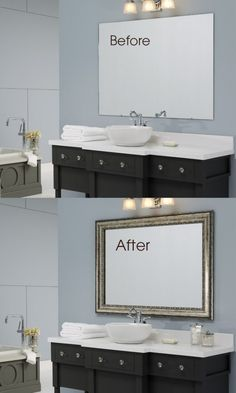 Transform the large, unframed mirror in minutes with a DIY mirror frame kit from MirrorMate.