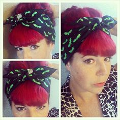 Bright Green Bats on Black one sided WIDE Headwrap Bandana Hair Bow Tie 1950s Vintage Style - Rockabilly - Pin Up - For Women, Teens