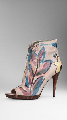 Thought of my friend Honey when I saw this in magazine.  too high for me (heel and price) but they are beautiful !!  Hand-Painted Leather Ankle Boots | Burberry