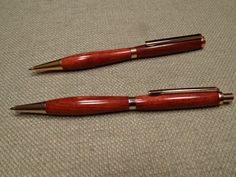 Slimline pen and pencil set, turned in my garage and finished with CA and boiled linseed oil.
