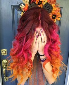 Hair by: @katiesilvers Hair on: @justineeymac #hair#color#red#redhair#mermaid#curls#orange#orangehair#colorful#modernsalon#unicorn#style#hairstyles#hairstylist#pink#vivid#fall#fallvibes#colorhairdontcare#sunset#fire#ombre#colormelt#hothair#hothairvids#hotonbeauty#hairinspo#hairideas#nails#autumn
