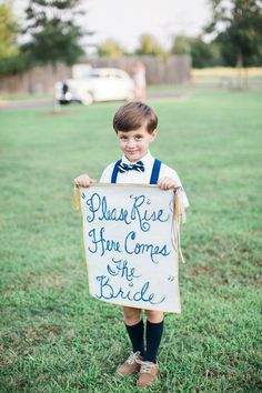 """Ring bearer wedding sign idea - """"Please rise, here comes the bride"""" {Taylor Square Photography Co.}"""