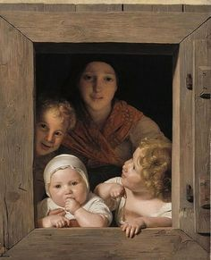 Ferdinand Georg Waldmüller A young peasant woman with her children at a window Oil on canvas 1840