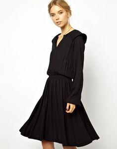 Image 1 - Ganni - Robe style 70's avec épaules fantaisie