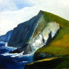 """""""Croghaun Cliffs, Achill"""" - Oil on Canvas; 40x40cms"""