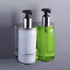 Hotel Toiletries - Soap Dispensers - Double Stainless Steel Wall Bracket- UK Hotel Supplies  http://www.daveswarehouse.com