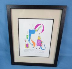 """Story People Signed Color Print Brian Andreas '95 """"Lizard Brain"""" Framed Matted"""
