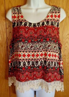 Color Of Love Tank Top Blouse Boho Lace Hem Womens Size L Hippy Chic Rayon CUTE #ColorofLove #TankCami #Casual