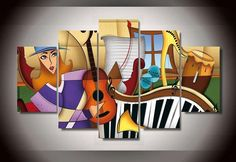 Painting Size: (total 5 panels) (total 5 panels) (total 5 panels) Edges are painted and ready to hang. Buy Paintings Online, Canvas Paintings For Sale, Hanging Paintings, Modern Art Paintings, Colorful Paintings, Artwork Online, Guitar Painting, Hand Painting Art, Painting Canvas