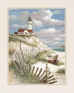 This counted cross stitch pattern of a Lighthouse and Beach Scene was designed from the beautiful artwork of T. Original image copyright of T. Chiu and Cypress Fine Art Licensing. Only full cross stitches are used in this pattern. Framed Art Prints, Fine Art Prints, Lighthouse Painting, Lighthouse Pictures, Cross Stitch Landscape, Diamond Art, Cross Paintings, Beach Art, Beautiful Artwork