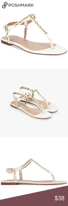 ALDO Starda White Embelished Flat Toe Post Sandals NEW IN BOX  DETAILS: ALDO WHITE SYNTHETIC HEEL: 0.50 INCHES (1.27 CM) PEEP-TOE ALDO Shoes Sandals