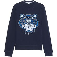 KENZO Tiger Navy Sweat // Cotton sweater with embroidery (€209) ❤ liked on Polyvore featuring men's fashion, men's clothing, men's sweaters, mens short sleeve sweater, old navy mens sweaters and mens cotton sweaters