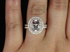 Rosados Box Cara Rose Gold Oval Morganite Double Halo Wedding Set