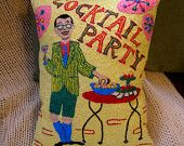 #Cocktail #Party Pillow hand-embroidered by My Good Babushka - several more awesome #embroidered #pillows - unbelievable. #etsy