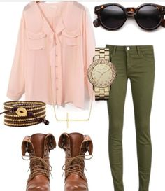 army green pants beige/blush chiffon top--none of these elements is really my style but I love the color combination.