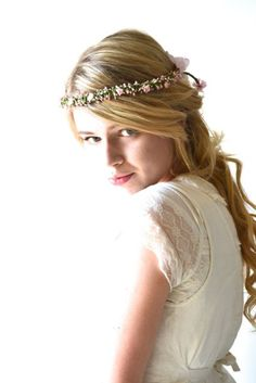 long wedding hair styles with a flower crown